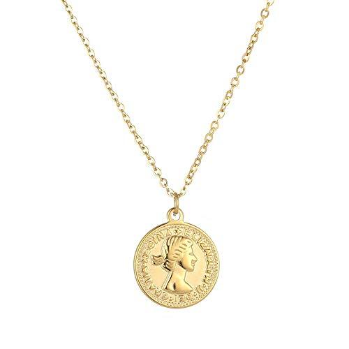 Tribal Spirit Steel Kette Anhänger Edelstahl Münze Medaille Elizabeth II Farbe Gold - Gold Münze