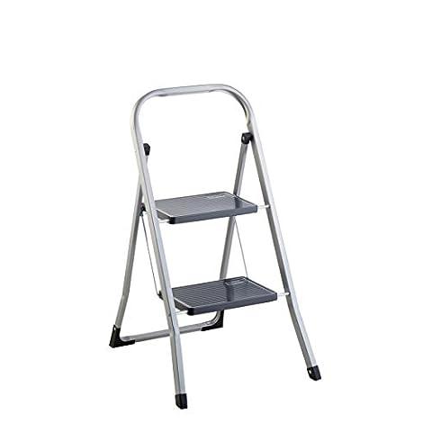 axentia Trittleiter 2 Stufen klappbar - Klapptritt mit Haltebügel & Sicherheitshaken - Klappleiter standfest bis 150 kg - Stufenleiter rutschfest - 2-stufige Klapptreppe aus Metall - Haushaltstritt für Innen und Außen, ca. 87 x 47 x 5 cm