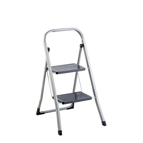 axentia Trittleiter 2 Stufen klappbar, Klapptritt aus Metall mit Haltebügel und großen Stufen, Klapptreppe bis 150 kg, silberfarben / schwarz