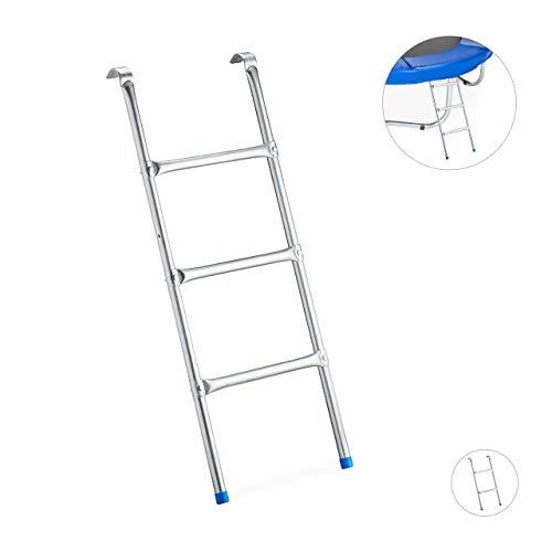 Relaxdays Leiter Trampolin, zum Einhängen, 3 Sprossen, Einstiegsleiter für Gartentrampolin, H x B: 97 x 38 cm, silber -