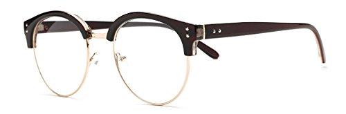 Outray Vintage Retro Halb Rahmen Horn umrandeten Rund Linse Brille 2141c2 Brown (Vintage Horn Umrandeten Sonnenbrille)