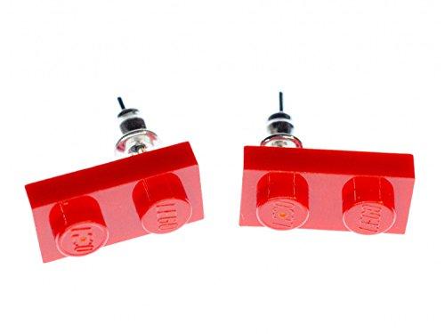 Lego Ohrstecker Miniblings Stecker Ohrringe Spielzeug Baustein rot Rechteck