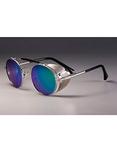 MOMOQU Sonnenbrillen Retro Round Metal Sonnenbrillen Steampunk Männer Frauen Brillen Oculos De Sol Shades Protection , Silver Green