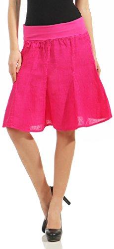 malito Damen Leinenrock mit Stretchbund | schlichter Glockenrock | Sommerrock in Uni Farben | Minirock - Rock 1580 (pink)