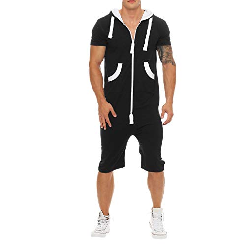 Nyuiuo Sommer Herren Sportswear Fashion Solid Color Patchwork Kontrast Slim Kapuzen Sweatshirt Herren Sommer Casual Kontrast Lose Kurzarm Reißverschluss Tasche Sport Set (Gestreiften Boxer Briefs)
