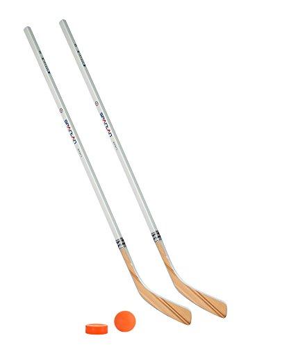 Streethockeyschläger-Set Kids 6: 2 Vancouver-Schläger 115cm gerade Kelle & Ball und Puck orange