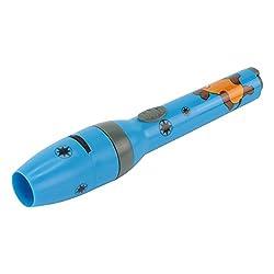 ANSMANN LED Kindertaschenlampe für Jungen in blau inkl. Batterien - Projektionslampe mit 5 Mausbildern & LED Taschenlampe in Einem - Die Sendung mit der Maus Leuchte - kleine Taschenlampe Kinder