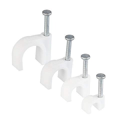 DECARETA 400 Stück Kabelschelle Weiß Nagelschelle mit Nagel 4/6/8/10 mm Kunststoff Kabelklemmen für Kabel (je Größe 100 Stück)