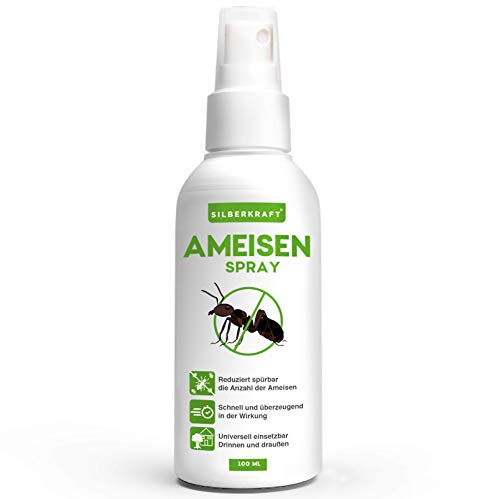 Silberkraft Ameisenspray, zuverlässig Ameisen bekämpfen, Anti- Ameisenmittel, 100% biologisch abbaubar, Sofort- und Langzeitwirkung, Alternative zu Ameisengift & Ameisenköder