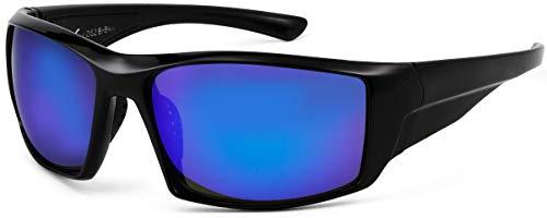 La Optica B.L.M. UV400 CAT 3 Unisex Damen Herren Sonnenbrille Sport Leicht Fahrradbrille - Schwarz (Gläser: Blau verspiegelt)