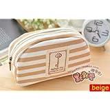Multichoice New Stripe Navy Makeup Bag Pencil Case Cosmetic Pouch Purse Canvas (beige)