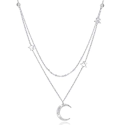 Erwachsene Sexy Star (SIMPLOVE Mond und Sterne Halskette S925 Sterling Silber Doppelschichten Sexy Schlüsselbein Kette Anhänger Halskette Einstellbare Zierliche Halskette, 14K Platinüberzug Crescent Moon und Star, 18