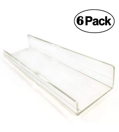6 Clear Floating Shelves Set di mensole in acrilico per bagno, cosmetici contemporanei, decorazioni da parete Bathroom Shelves (38 CM)