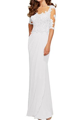 Sunvary Romantisch Spitze Arm Rund Ballkleider Neu Abendkleider Promkleider Mutterkleid Weiß