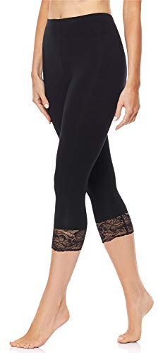 de0f91bd747627 Merry Style Damen 34 Capri Leggings mit Spitze MS10-224(Schwarz, 44 (