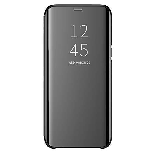 Hülle Kompatibilität Mit Samsung Galaxy S10 Plus,Galaxy S10 Plus Spiegel Silikon Handyhülle Phone Case Flip Folio Clear View Full Mirror Cover Lederhülle Galaxy S10 Schutzhülle (S10 Plus, Schwarz) Farbe Flip Case