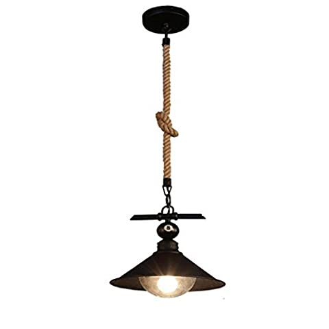 GRFH Creative Loft Restaurant Lights 1 Head Retro Industrial Wind Chanvre Bar à corde Restaurant Salle de billard Lustres The Vintage Wind Industry Pendentif Luminaires Billard Salle Restaurant Bar Café , a