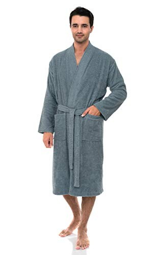 TowelSelections Herren-Kimono-Bademantel, türkische Baumwolle, Frottee, hergestellt in der Türkei - Grau - Large/X-Large -