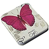 Pink Flamingo Rectangular Butterfly Motif Double Sided Compact Mirror (Dark Pink)