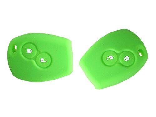 Preisvergleich Produktbild Happyit 2 Pcs-Auto-Schlüsselkasten-Abdeckung Silikon für Renault 2 Knöpfe Kangoo Scenic Megane Sandero Captur Twingo Modus Fernsteuerungsabdeckung (hellgrün)