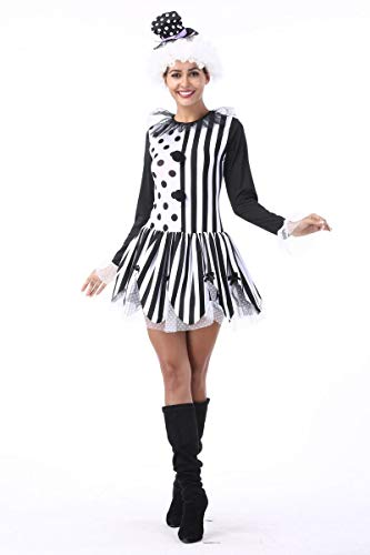 Simmia Halloween Kostüm,Halloween Clown Magier Paare Erwachsene Schwarz-Weiß-Streifen Zirkus Clown Nachtclub Bar, weiblich, - Halloween-kostüme Clown Weiblich