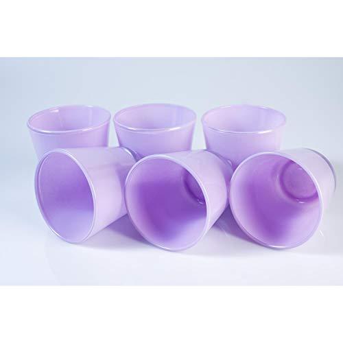 INNA Glas 6 x Kleines Teelichtglas/Teelichthalter Alex, lila, 7,5 cm, Ø 7,5 cm - Windlichtglas