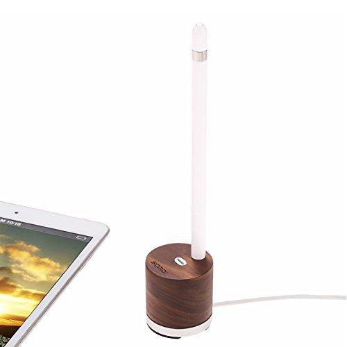 Samdi Holz Mini Ladegerät & Halter/Apple Pencil Charing Dock Stand für Apple iPad Pro Bleistift Ladegerät Dock Stehen (Schwarze Walnuss) (Schreibtisch Walnuss-finish,)