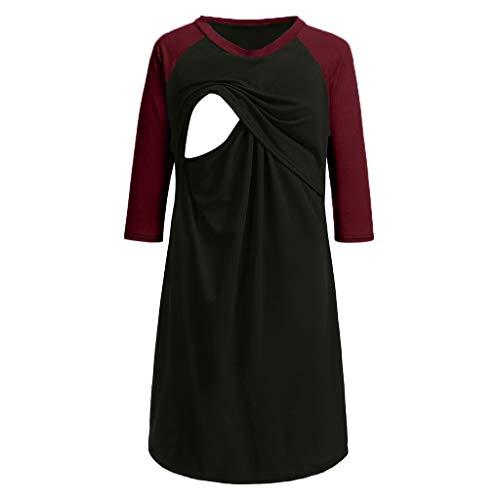 Amphia - Schwangere Frauen stillen Kleid - Damen Nachthemd Kleid - Frauen Umstandskleid Stillendes Nachthemd Stillen Nachthemd(Rot,XL)