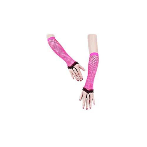 Damen Sommer Fischnetz Handschuhe Fingerlos Uv Schutz Classic Netzhandschuhe Einfarbig Atmungsaktiv Lang Fäustlinge Kleidung (Color : Rosa Rot, Size : One Size)