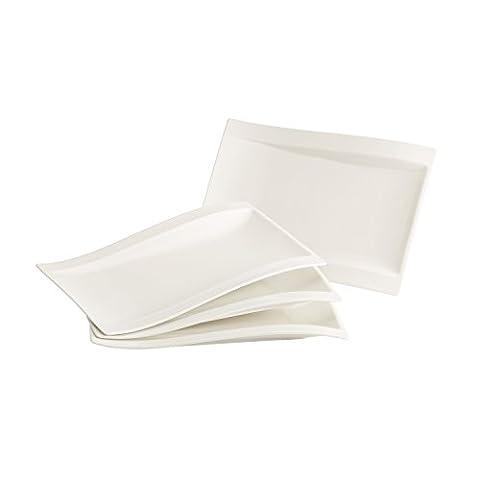 Villeroy & Boch NewWave Gourmet-Set / Tellerset in modernem Design aus weißem Premium Porzellan / Ergänzung zu NewWave Tafelservice / spülmaschinenfest / 1 x Set (4-teilig)