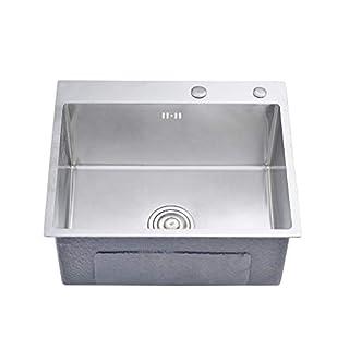 Auralum Küchenspüle Edelstahl Einbauspüle + Abflussgarnitur + Siphon, Eckig, 45*35CM