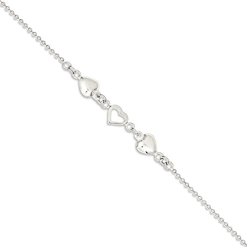 IceCarats 925 Sterling Silver 10 Inch Hearts Anklet For Women Ankle Beach Chain Bracelet Adjustable Chain Plus Size Extender To 9
