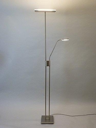 LED Stehleuchte Levin Deckenfluter Deckenstrahler mit Leseleuchte nickel, dimmbar, mit Leseleuchte moderner Fluter ,Stehlampe, Leselampe, Deckenlampe, Arbeitslampe, Büroleuchte, Leselampe, Bürolampe