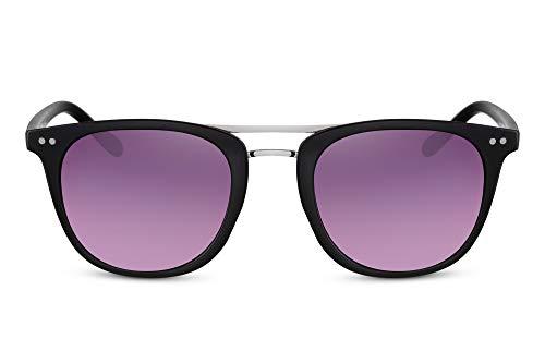 Cheapass Sonnenbrille Schwarz Doppelte Nasenbrücke UV-400 Klassisch Plastik Damen Herren