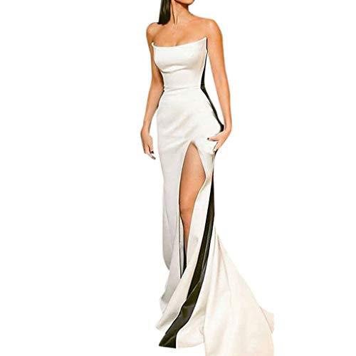 WoWer Damen Kleid | Sexy Elegante Schlanke Off-The-Schulter Kalte Schulter äRmellose Tube Top Farbe Split Split Langes Kleid | Wischrock | Abschlussball Hochzeit Cocktail Party Abendkleid