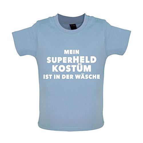 Mein Superheld Kostüm Ist in Der Wäsche - Witziges Baby T-Shirt - Taubenblau - 12-18 Monate