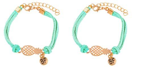 Imagen de strass & paillettes pulsera en gamuza sintética. verde turquesa con una piña dorada y una medalla bf/pulsera best friend piña. pulsera para su mejor amiga
