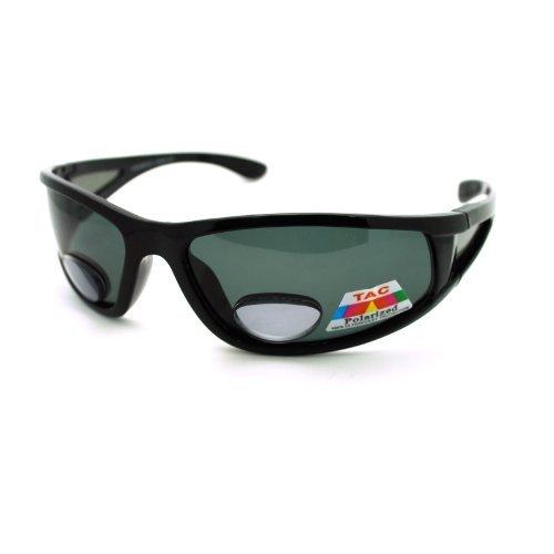 JuicyOrange Wrap Around Sport Sonnenbrille polarisierte Plus-Bifocal Leselinse 1.75 2.625 schwarz 5 5/8