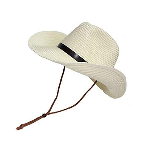 e Western Cowboy Hat Outdoor Sonnenschutz Erwachsene Kinder Strohhut weiß ()