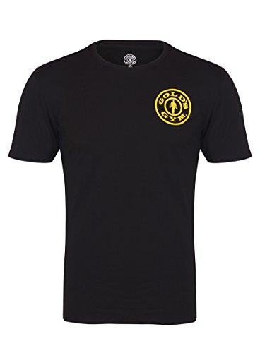 Golds Gym El Gimnasio del Oro básico Pecho Izquierdo impresión Camiseta Negro Negro Talla:Small