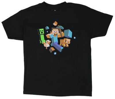 Minecraft - Run Away Youth T-Shirt - Youth Large (10-12)