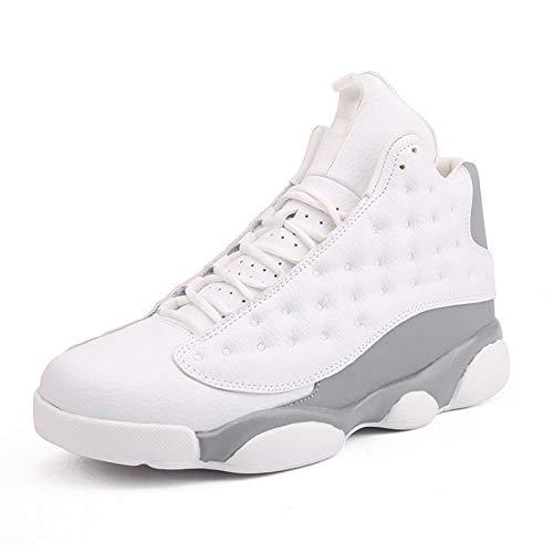 ASDFGH Basketballschuhe, Nicht-Auflippen-Sneakers Men ' S Breathable Basketball Training Boots Outdoor Boots,White,43 (Basketball Boot-nike)