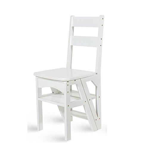 DYFYMX Chaise échelle, marches Pliantes Chaise d'escalier Pliante en Bois Massif, Tabouret d'échelle Multifonction, Chaise Pliante Double Usage échelle à Quatre étapes. (Couleur : B)