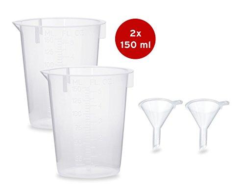 Trichter Für Pulver (2x Messbecher 150 ml + 2x Mini Trichter zum Abfüllen und Umfüllen von Flüssigkeiten (2 Sets))