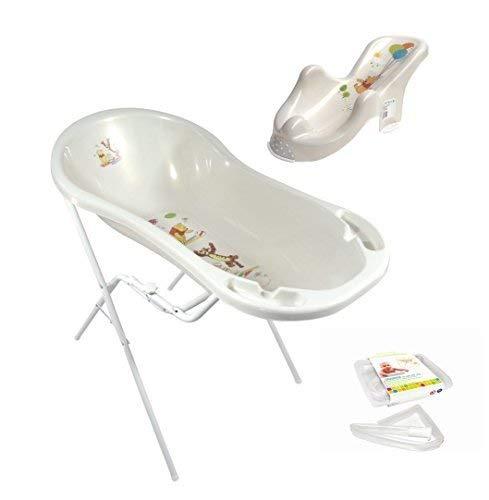Disney Winnie Pooh perl weiß Baby Badewanne XXL 100 cm mit Stöpsel + Badesitz + Badewannenständer + Ablaufschlauch Babywanne