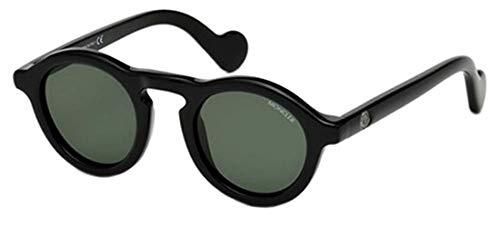Moncler Unisex-Erwachsene ML0042 01N 46 Sonnenbrille, Schwarz (Nero Lucido/Verde),