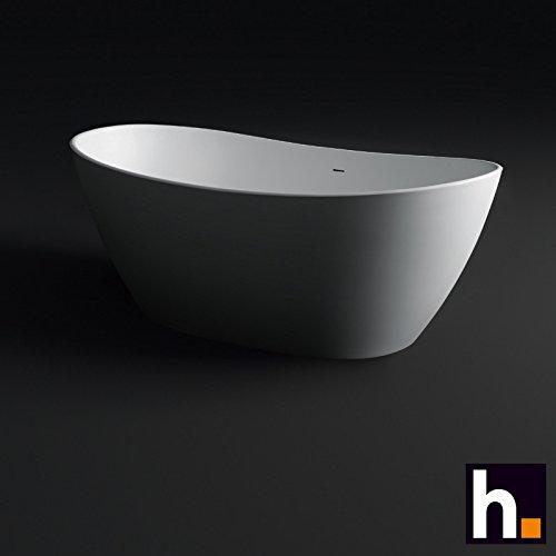 Freistehende Badewanne Ovoid Mineralguß 180 x 90 mit Clic Clac Ablaufsystem weiß matt (Freistehende Schmale Wanne)