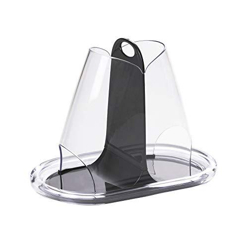 Omada design porta cialde per caffè o buste di zucchero,in acrilico trasparente e nero, linea crystal