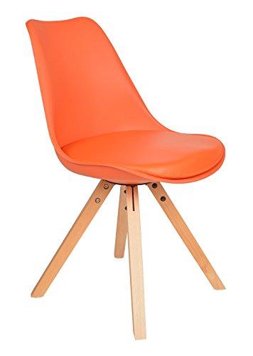 Küche Stuhl Polster (1x Design Wohnzimmer Esstisch Küchen Stuhl Esszimmer Büro Sitz Polster Kunstleder Holz Orange)