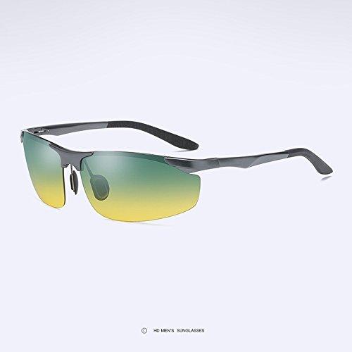 Z&HA Tag Und Nacht Polarisierte Nachtsichtbrillen Männer Fahren Sonnenbrille Aluminium Magnesium Halbrahmen Gläser Freie Anpassung Tempel,Guncolor